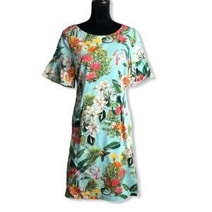 RSVP Talbots Bell Sleeve Floral Dress in Blue